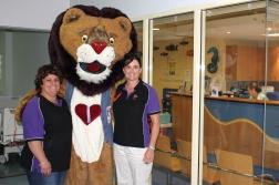 Natalie, Patch and Karen visiting the Princess Margaret Hospital for Children's Children's Cardiac Centre