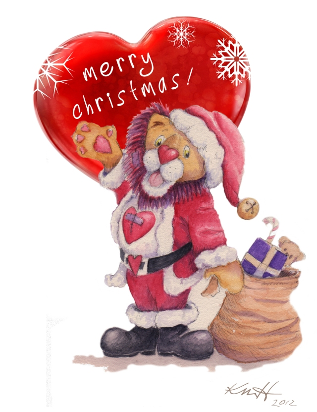 Xmas card Heart santa